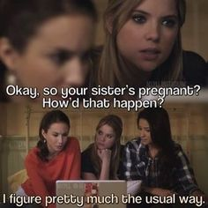 Pretty little liars Spencer Emily Hanna Pll Quotes, Pll Memes, Funny Quotes, Preety Little Liars, Pretty Little Liars Quotes, Best Tv Shows, Best Shows Ever, A Pll, Carlson Young