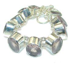 $160.25 Princess Style!! Rose Quartz Sterling Silver Bracelet at www.SilverRushStyle.com #bracelet #handmade #jewelry #silver #quartz