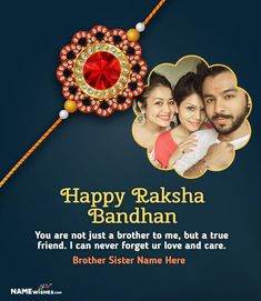 Unique Rakhri 2020 Wish With Name and Photo. Unique Rakhri 2020 Wish With Name and Photo Rakhi Messages For Brother, Message For Brother, Happy Raksha Bandhan Quotes, Happy Raksha Bandhan Wishes, Brother Sister Photos, Your Brother, Rakhi Quotes, Raksha Bandhan Photos, Happy Rakhi