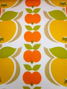 Vintage 1970s Wallpaper  Orange Apples  Price per by Pommedejour, $18.00