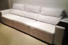 Sofá em Courino branco www.lovemoveis.com.br