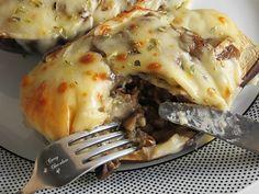 Berenjenas rellenas de champiñones y queso – Mushroom and cheese stuffed eggplants