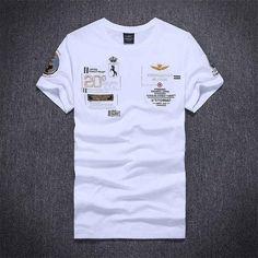 aeronautica militare men short sleeve t shirt Embroidery air force one tshirt homme Brand T-Shirt diamond shark Casual T Shirts, Tee Shirts, Men Casual, Short Shirts, Golf Shirts, Casual Tops, Air Force One, Shirt Embroidery, Branded Shirts