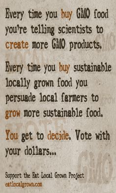 "Find local farms and farmers markets at eatlocalgrown.com ~~ Download ""Buycott"" on your smartphone and it will tell you which products are GMO~~"