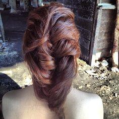 Korean style wedding hairdo. Bride: Stephanie #hair #hairstyle #wedding #bride #updo #hairdo #korean