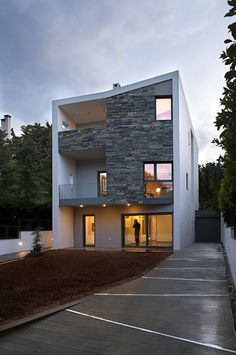 Housing  White render and stone