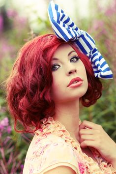 Red pinned up hair with cute striped bow, minus how big that bow is, i wanna try that Short Red Hair, Short Hair Styles, Short Wavy, Pretty Hairstyles, Girl Hairstyles, Red Hair Pictures, Manic Panic Hair Color, Red Hair Woman, Girls With Red Hair