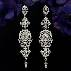 Vintage Pattern Long Drop Earrings Top quality White Gold Plated Crystal Bridal Earrings for Women Fashion jewelry Bridesmaid Earrings, Bridal Earrings, Women's Earrings, Silver Earrings, Diamond Earrings, Vintage Earrings, Indian Wedding Jewelry, Prom Jewelry, Bridal Jewelry Sets