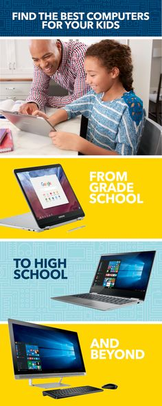 From your kids' first days of school to the end of high school, Best Buy and our Blue Shirts can help you find them the perfect computers. Do they need a fast and easy laptop built for a book bag? More power for college finals? Or maybe you need a video-ready versatile computer the whole family can share? Experience and discover Windows PCs, Google Chromebooks and more...