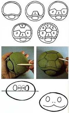 Paint a rock like a turtle (instructions are in spanish)  A Cristmas present for Herman??