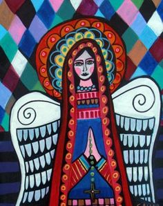 Virgin of Guadalupe Mexican Angel Mexican Folk by HeatherGallerArt, $24.00