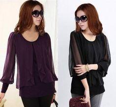 Wholesale 2013 new fashion Korean women blouses chiffon cotton long sleeved  lotus plus size upper garments round neck loose COLORS M XXXXL XB d1c7e2c518