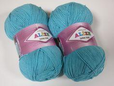 Needle size 3mm - 5mm, crochet hook size 2-4mm. cotton 55% acrylic 45% 100g/330m http://yarnstreet.com/yarns/alize/cotton-gold#