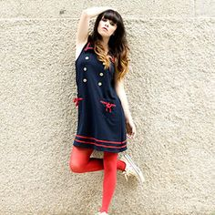 Romwe Nautical Dress, Red Tights, Converse Natural White Low Tops, Http://Www.Jaglever.Com