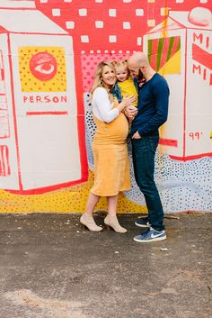 Colorful downtown Grand Rapids Maternity Photos with a toddler photographed by Mae Photo Co Boy Maternity Photos, Maternity Session, Pregnancy Photos, 37 Weeks Pregnant, Street Mural, Family Photos, Couple Photos, Expecting Baby, Second Baby