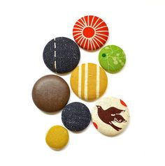 Magnets - Handmade. 8 Pack. Brown, Wood, Leather, Red, Denim, multi coloured. www.thewiggletree.com