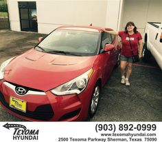 https://flic.kr/p/G8Xj4M | Happy Anniversary to Linda on your #Hyundai #Veloster from Ric Metcalf at Texoma Hyundai! | deliverymaxx.com/DealerReviews.aspx?DealerCode=L967
