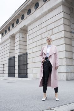 Discover this look wearing Shein Coats, Zara Shoes, H&M Trend Blouses - Pink coat by Beeswonderland styled for Chic, Casual Party in the Spring H&m Trends, Casual Party, Zara Shoes, Street Style Looks, Duster Coat, Normcore, My Style, Pink, How To Wear