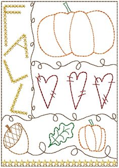 Free prim Sampler Patterns | Fall Sampler 5x7 : HeartStrings Embroidery, Embroidery Designs