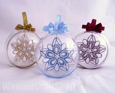 set of 3 christmas stars in transparent balls by WonderCraftShop