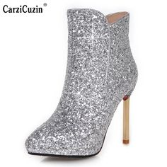 f04c8aeb796c Woman Platform Pointed Toe Ankle Boots Female Glitter Bling Thin Heel Botas  Feminine Fashion Party Heels