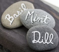 Alaskan River Stone Garden Markers Herb by BorealisSeaGlass, $6.00
