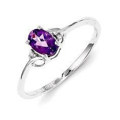 Material: .925 Sterling Silver - Average Weight: 1.95gm Width of Band: 2 mm - Open Back Stone Type: Diamond Stone Creation Method:Natural Stone Weight:0.010 ctw (total weight) Stone Type: Amethyst Sto