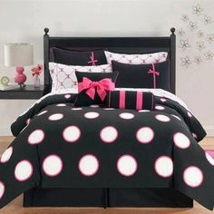 Make your bedroom more fun and fashionable with this Sophie contemporary 10-piece bed-in-a-bag set. This set is available in multiple colors schemes with dots and bows, so it adds flair to your room.