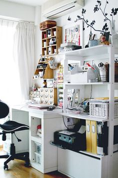 ' (via Studio Calico) Craft Room Storage, Room Organization, Craft Rooms, Workspace Inspiration, Room Inspiration, Studio Calico, Craft Room Design, Space Crafts, Craft Space