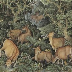 I Nyoman Lesug (Balinese, b. 1939), Cows and birds in a forest, 1980. Acrylics on canvas, 45.5 x 45.5 cm.