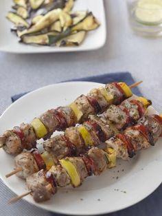 Brochettes porc chorizo citron - Recette de cuisine Marmiton : une recette