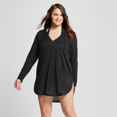 Women's Plus Size Solid Jersey Long Sleeve Hoody Cover Up - Costa del Sol