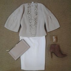 #Lookoftheday!!! @trinaturk Marlie flutter sleeve sweater.raoulfashion winter white pencil skirt, @bcbgmaxazria Chameleon smoke taupe bootie, @bcbgmaxazria nuetral envelope clutch, @bcbgmaxazria textured chain cuff, and seed pearl with gold multi strand long necklace.#simplechic #nuetralcorners #aboutalook #shoplocal #ootd
