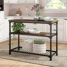 Rustic Kitchen Island Console Table Dining Room Buffet Wood Metal Shelf Prep for sale online Rustic Kitchen, Kitchen White, Kitchen Prep Table, Kitchen Carts, Kitchen Island Cart, Industrial Kitchen Island, Kitchen Office, Kitchen Ideas, Kitchen Cupboard