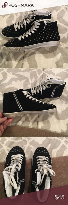 Steve Madden Suede Studded Sneakers 7.5 Amazingly cool Steve Madden suede studded high tops. With a zipper on the inside foot for easy access, these sneakers have a weathered feel for extra coolness. Never worn, absolutely brand new. Bought them and they're too small for me. My loss is your gain! Steve Madden Shoes Sneakers