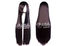 Long Straight Anime Cosplay Wig Synthetic Party Hairpiece Fiber Hair Dark Brown 80cm100cm Free Shipping