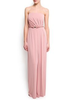 MANGO - Strapless pleated gown