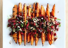 We just love this unusual cherry salsa recipe. Scattered over grilled sweet potatoes, it's a feast f. - The First Mess Vegetarian Grilling, Grilling Recipes, Vegetarian Recipes, Healthy Grilling, Vegetarian Dinners, Camping Recipes, Barbecue Recipes, Barbecue Sauce, Grilled Broccoli