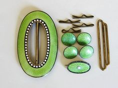 Marius Hammer Rare Cased Set Sterling Enamel Buckle Brooch and Buttons Norway from Quick Red Fox Exclusively on Ruby Lane
