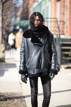 Katlin Aas during nyfw feb 2015 wearing acne velocite jacket