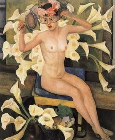 1943, Nude and Flowers- Diego Rivera.  Art Experience NYC  www.artexperiencenyc.com Mural Painting, Guanajuato, Diego Rivera Frida Kahlo, Frida And Diego, Diego Rivera Mural, Mexican Artists, Magnum Opus, Freda Carlo, Art And Architecture