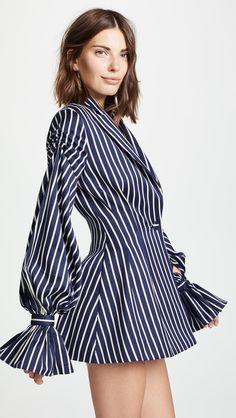 377f76ea1610 Vatanika Pinstripe Ruffle Blazer Dress