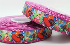 """NEW - 1 Yard 1"""" - Candy Crush Grosgrain Ribbon - Candy Theme Birthday Party Bow"""