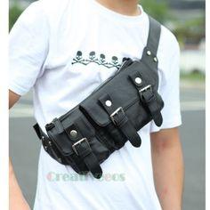 Mens-Leather-Riding-Bike-Messenger-Shoulder-Belt-Hip-Bum-Waist-Sling-Chest-Bag