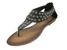 7de39cc6751 Womens Studded Roman Gladiator Sandals Flats Thong Shoes black brown or  white