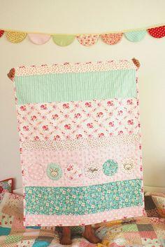 baby girl quilt, handmade by nanaCompany