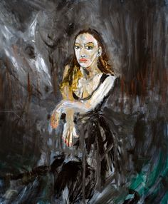 Raina Sitting X 38 o/c Neo Expressionism, Princess Zelda, Portrait, Bay Area, Artist, Painting, Fictional Characters, Image, Headshot Photography