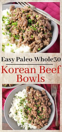 Easy Paleo Korean Beef Bowls- made in under 20 minutes and so delicious! Whole30, gluten free, and healthy! You will love these bowls!