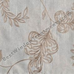 """Nadia fabric in natural color with leaf/floral stitch embroidery pattern: tone one tone : lightweight linen blend : side panels, 108"""" inch curtains for living room, scarf swag window treatments for bedroom"""