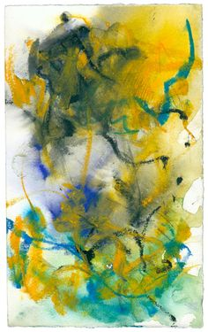 "Untitled, 1986. Pastel and watercolor on paper, 6 1/2 x 4""  © Estate of Joan Mitchell."